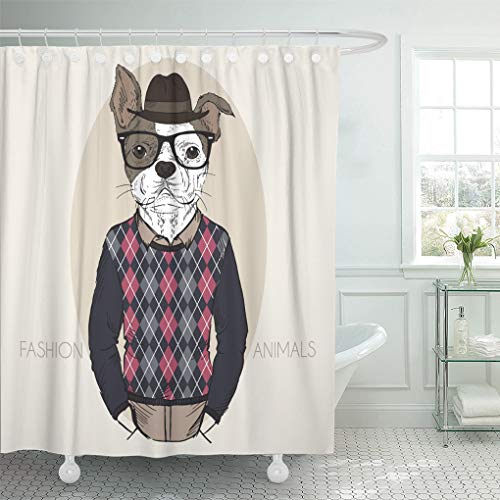 Emvency Shower Curtain Colorful Animal Hand Drawn of French Bulldog Hipster in Colors Dog Shower Curtains Sets with Hooks 60 x 72 Inches Waterproof Polyester Fabric