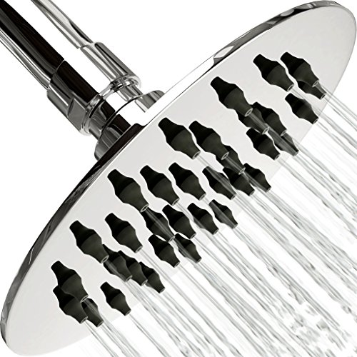 Rain Shower Head Stainless Steel – NEW 2018 High Pressure 4 In Rainfall Bathroom Powerful Spray Shower Heads – Best High Flow Fixed Luxury Chrome SPA Showerhead with Adjustable Metal Swivel Ball