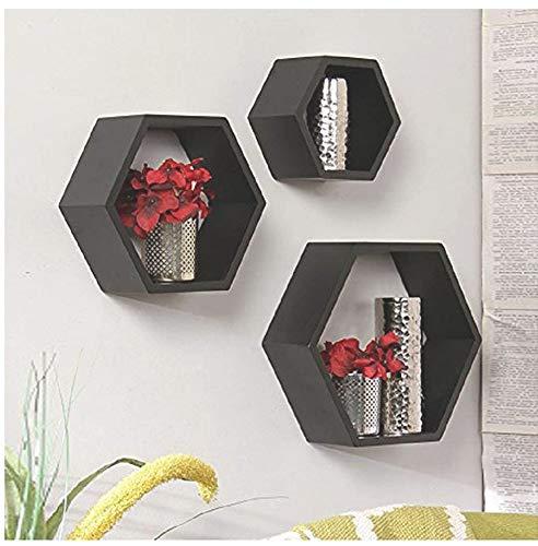Royal Store Wooden Wall Shelf Hexagon Shape Storage Wall Shelves Set of 3  Standard, Black