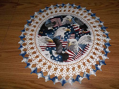 (Patriotic Doily Eagles and Flags 4th of July Table Topper Round Lace Table Decoration Fabric Center Doily Crocheted Edge 16 Inches Centerpiece)