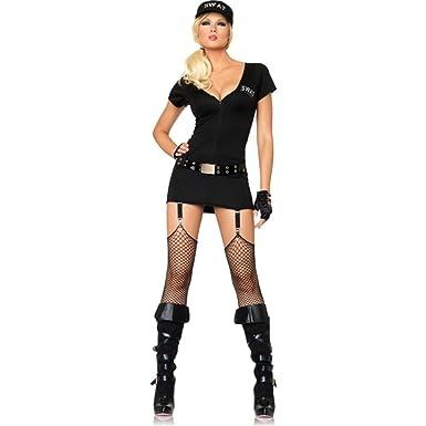 Leg Avenue Women s 3 Piece Sexy Swat Commander Garter Dress With Belt And  Hat 65b217c351eb7