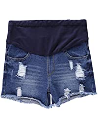 35856562120b1 Women's Maternity Denim Jean Shorts Distressed Ripped Hole Lounge Shorts  Pregnancy Short Pants, Dark Blue