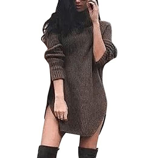3f8718d518 Orangeskycn Womens Turtleneck Sweater Mini Dress Knitted Long Shirt Pullover  Split Tops Blouse (Army Green