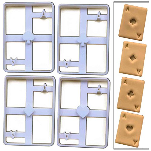 Set of 4 Poker Card Ace cookie cutters (Spade, Diamond, Heart, Club), 4 pcs, Ideal for casino themed party