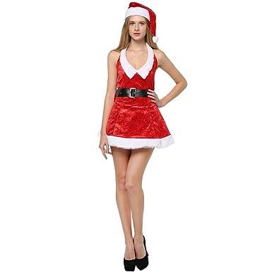 ZHANG - Disfraz de Papá Noel para Mujer con Gorro de Navidad ...
