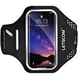 LETSCOM Running Armband for Cellphone, Smartphone Case with Key Holder Compatible with iPhone XR XS MAX 8+ 7+ 6S+ 6+ Samsung Galaxy S10+ S9+ S8+ S7 Edge