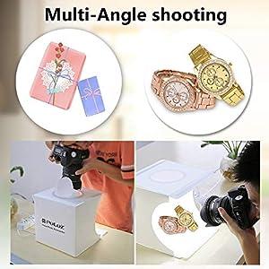 Portable Folding Mini 3 Modes Dimmable LED Ring Light Box 20cm Lightbox Photo Studio Box Photography Light Studio Shooting Tent Box Kit & 6 Color Backdrops (Color: 20cm Ring Light Light Box)