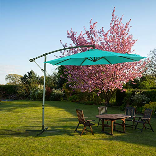 Crestlive Products Upgraded 10 ft Patio Offset Cantilever Umbrella Outdoor Hanging Umbrella with Crank and Cross Base, Gray Umbrella Pole and Ribs Emerald