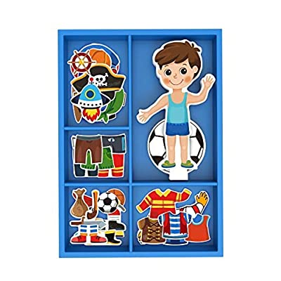 Toysters Magnetic Wooden Dress-Up Boy Doll Toy | Pretend Play Set Includes: 1 Wood Doll with 30 Assorted Costume Dress Ideas | Not Your Average Paper Doll | Great Gift Idea for Little Boys 3+ (PZ650): Toys & Games