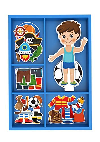 (Toysters Magnetic Wooden Dress-Up Boy Doll Toy | Pretend Play Set Includes: 1 Wood Doll with 30 Assorted Costume Dress Ideas | Not Your Average Paper Doll | Great Gift Idea for Little Boys 3+ (PZ650) )