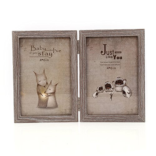 Zhenzan Frames 4x6 Inches Hinged Foldable Double Openings Desktop Picture Frame with Glass Front (4x6, ()