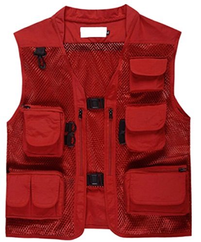 Generic Mens Poplin Outdoors Travel Sports Pockets Vest Red S