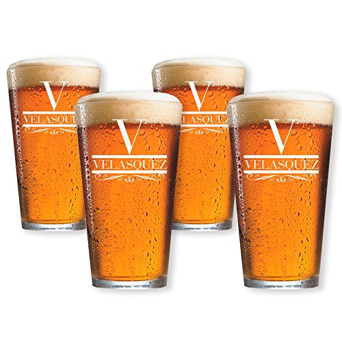 Beer Pint Glasses Set of 4 Personalized by Froolu Customized Beer Glasses For Housewarming, Wedding, Anniversary Gifts -