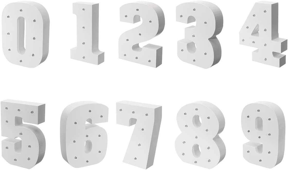 1 White Wood Marquee LED Number Lights Sign Party Wedding Decor Battery Operated Number WONFAST Decorative Light Up Wooden Number Letters