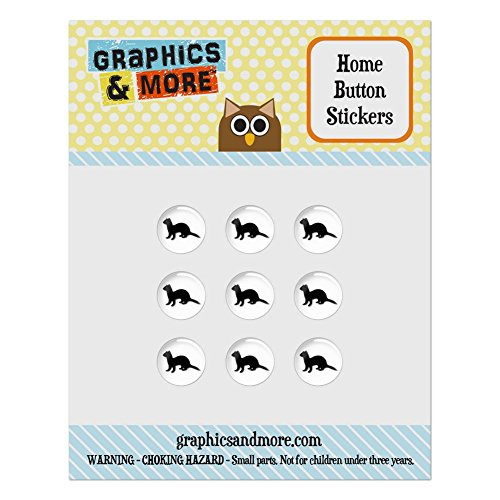 - Set of 9 Puffy Bubble Home Button Stickers Fit Apple iPod Touch, iPad Air Mini, iPhone 4/4s 5/5c/5s 6/6s Plus - Animals - Ferret Weasel