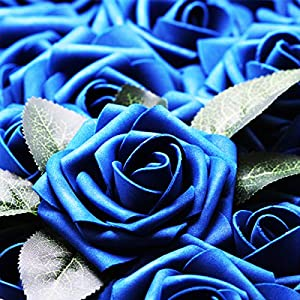 Artificial Flowers Real Touch Fake Latex Rose Flowers Home Decorations DIY for Bridal Wedding Bouquet Birthday Party Garden Floral Decor - 25 PCs 8
