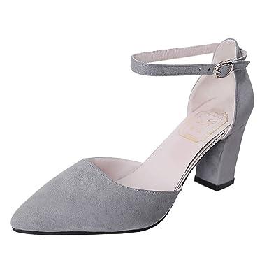 Darringls_Zapatos para Mujer,Zapatillas Gamuza Botines Talón Grueso Hebilla Sandalias Zapatos de tacón Alto Puntiagudo: Amazon.es: Ropa y accesorios