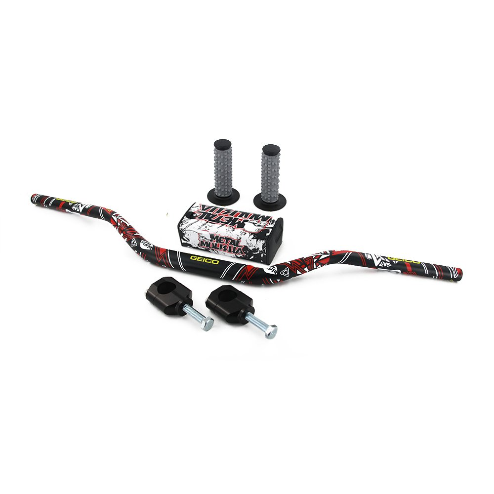 JFG RACING 1-1//8 28mm Handlebar Fat Handle Bar /& Riser Mount Clamp /& Pad /& Grips Set For Honda CR125R CR250R CRF250R CRF450R CRF450RX CRF250X CRF450X KAWASAKI KX125 KX250 KX250F KX450F SUZUKI RMZ250