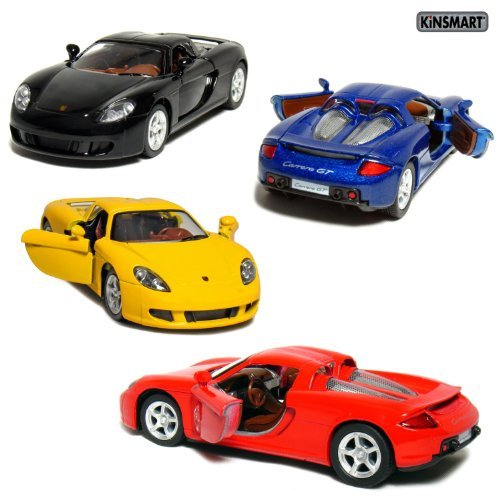 Set of 4: 5″ Porsche Carrera GT 1:36 Scale (Black/Blue/Red/Yellow) by Kinsmart