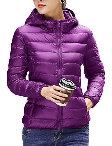 - CHERRY CHICK Women's Light Weight Down Jacket with Hood (XL, Purple-AB)