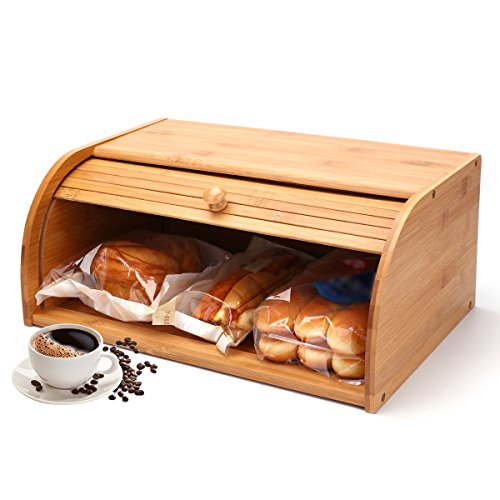 SUNCOM Bamboo Roll Top Bread Box Dustproof, Large Capacity Bread Holder Bin, Vintage Kitchen Rack Food Storage Container for Loaves, Pastries and Snacks-Need Assembled