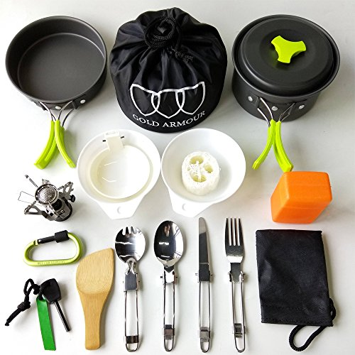 17Pcs Camping Cookware Mess Kit Backpacking Gear & Hiking Outdoors Bug Out Bag Cooking Equipment Cookset | Lightweight, Compact, & Durable Pot Pan Bowls (Green)