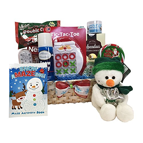 Christmas Gift Baskets for kids with Snowman and Teddy kids will love to have – Let It Snow (Children Gift Baskets)