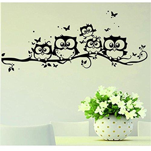 ✿Mose✿ Hot Sale !!! Owl Butterfly Wall Sticker Home Decal, Kids Vinyl Art Cartoon Wall Sticker Decor (Black) (Family Circle Halloween Costumes Ideas)
