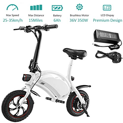 350W Folding Electric Bicycle with 15Mile Range Collapsible Lightweight Aluminum E-Bike Built-in 36V 6AH Lithium-Ion Battery, APP Speed Setting and Handlebar Display (White-6AH)