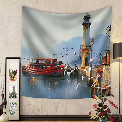 Gzhihine Custom tapestry Fishing Boat in Harbor at MorningWatercolor Painting Style - Fabric Wall Tapestry Home - Outlets At Harbor National