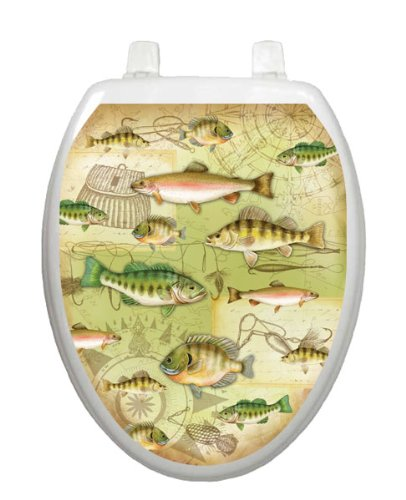 Gone Fishing Toilet Tattoo TT-1094-O Elongated Lake Pond Summertime Seat Decal