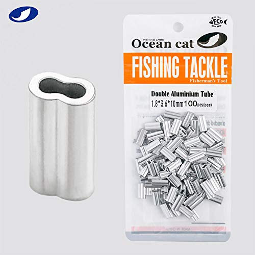 OCEAN CAT 100-500 Pcs Double Aluminium Tube Barrel Crimp Sleeves 100% Aluminium Crimping Loop Sleeve Fishing Line Tube Connectors Fishing Tackle Kit Size 1.8-4.0 mm (2.8x5.6x18mm, 100 pcs) ()