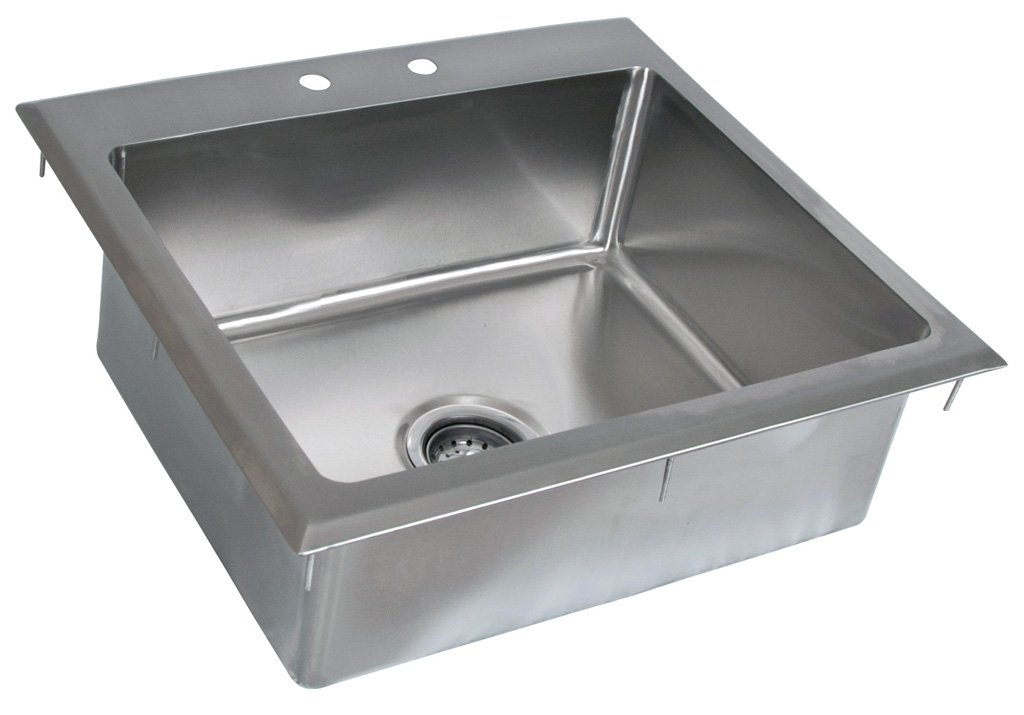 BK Resources BK-DIS-2016-8 Stainless Steel 1 Compartment Drop In Sink with 20'' x 16'' x 8'' Bowl, 8'' Height, 21'' Width, 23'' Length