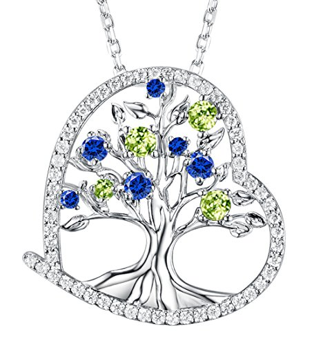 Dorella Love Heart the Tree of Life Necklace for Women August Birthstone Created Green Peridot and Blue Sapphire Fine Jewelry Anniversary Birthday Gifts for Her Wife Lady Pendant Sterling (Peridot Pendant Set)