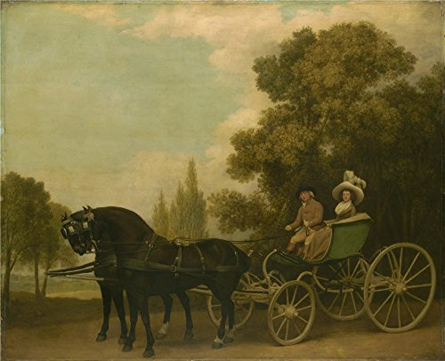 - Oil Painting 'George Stubbs A Gentleman Driving A Lady In A Phaeton ' Printing On High Quality Polyster Canvas , 30 X 37 Inch / 76 X 94 Cm ,the Best Basement Decor And Home Decoration And Gifts Is This Reproductions Art Decorative Prints On Canvas