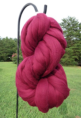 Burgundy Wine Wool Top Roving Fiber Spinning, Felting Crafts USA (1lb) (One Black Pound Yarn)