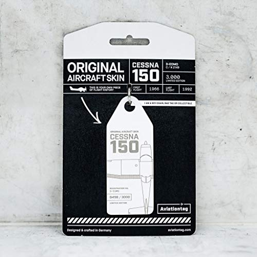 AVT026 AviationTag Cessna 150 (D-EOMO) White Original Aircraft Skin Keychain/Luggage Tag/Etc with Lost & Found Feature