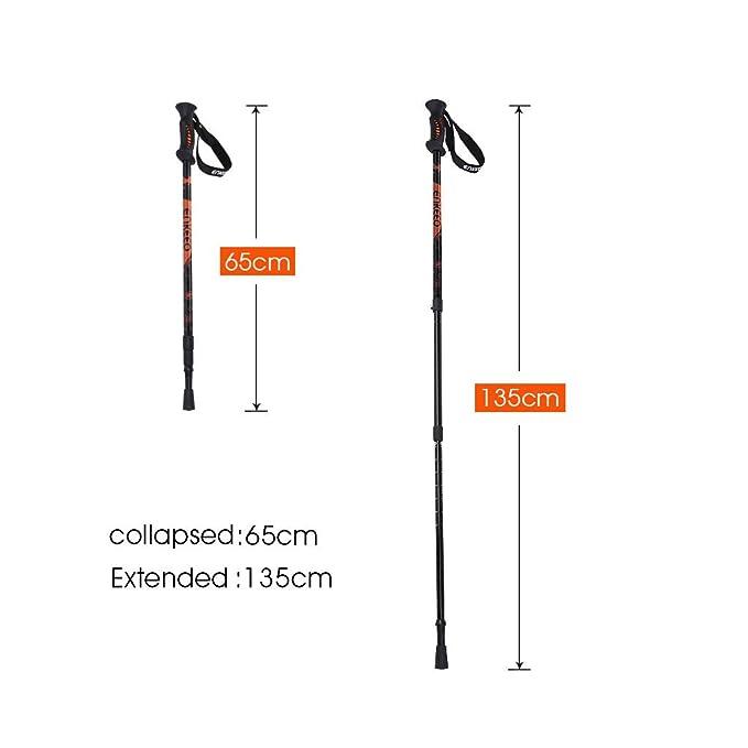 Adjustable Wrist Straps Ergonomic Grip for Hiking//Walking//Traveling//Backpacking Ultralight 2 Pack with Quick Lock Anti-Shock System Aluminum Alloy ENKEEO Trekking poles Telescopic