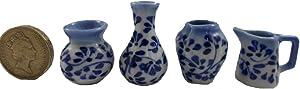 Mr_air_thai_Miniature 4Pc Lot Miniature Vase Pot Jar Ceramic Set Vintage Dollhouse Furniture White and Blue