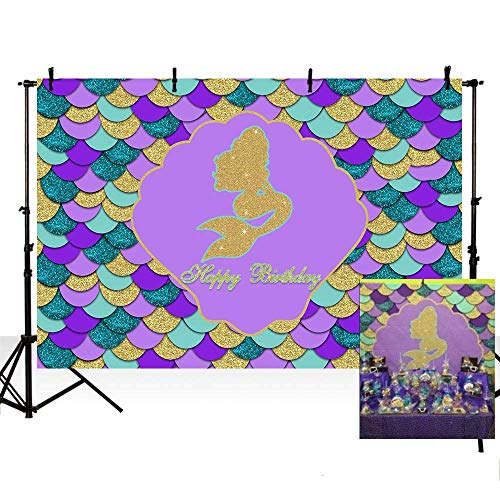 GoHeBe 9x6ft Purple Teal Photo Background Glitter Gold Mermaid Themed Colorful Shell Happy Birthday Party Decoration Backdrops for Photography Background Photo Banner Newborn Baby Portrait Photo]()