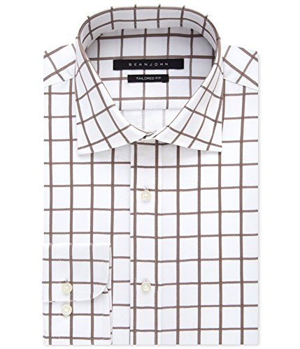 Sean John Tailored Dress Shirt (Sean John Men's Tailored Fit Exploded Window Check Shirt, Camel, 15.5