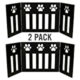 2 Pack of Dog Pet Gate Free Standing 48 in. Wide 19 in. Tall Three Panel Wooden Paw Accent Décor