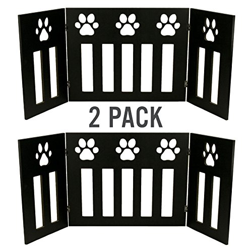 2 Pack of Dog Pet Gate Free Standing 48 in. Wide 19 in. Tall Three Panel Wooden Paw Accent Décor Over Passage Set