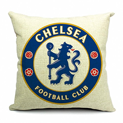 Esunshine Cotton Blend Linen Square Throw Pillow Cover Decorative Cushion Case Pillow Case 18 X 18 Inches / 45 X 45 cm, Football Club Badge (Chelsea)