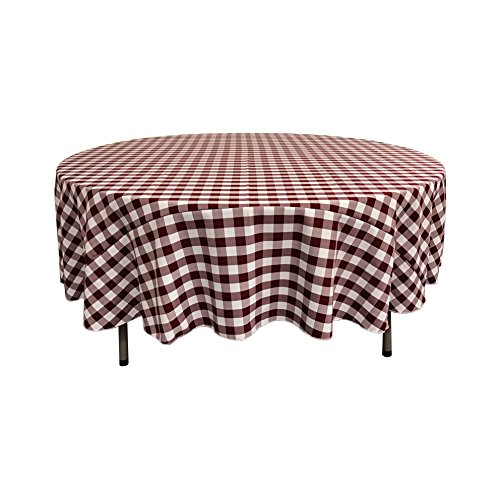 Burgundy Gingham - LA Linen Poly Checkered Round Tablecloth, 72-Inch, Burgundy/White