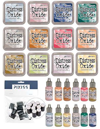 Ranger Tim Holtz Distress Oxide Ink Pads and Reinkers Fall 2018 Colors with 10x Pixiss Daubers
