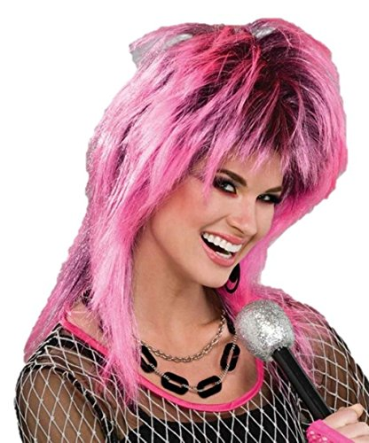 Spiked Wig Pink Black Women Halloween Costume Accessory Rock Star Punk Hot Retro