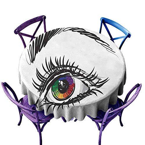 AndyTours Indoor/Outdoor Round Tablecloth,Eye,Eyeball of a Female in