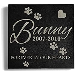 Personalized Memorial Pet Headstone Customized - Forever In Our Hearts - 6 x 6 Granite