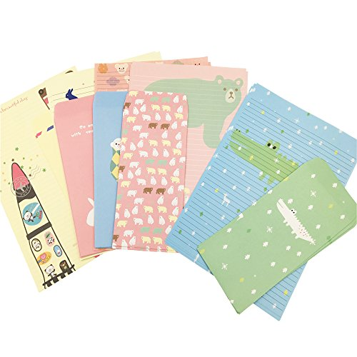 QingLanJian 30 Lovely Animal Writing Lined Paper Letter Stationary Set With 15 Envelope for Kids by QingLanJian